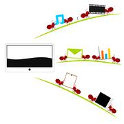 All in one tablet and red ants illustration - stock illustration