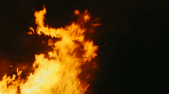 Hot flames of a bonfire in the night - stock footage