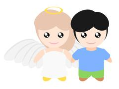 My girlfriend is angle - stock illustration