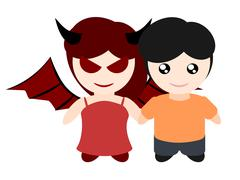 My girlfriend is devil - stock illustration