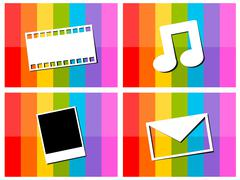 E-mail music movie photo in colorful background illustration Stock Illustration