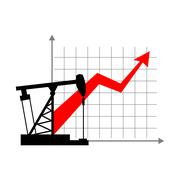 Graphic growth  and oil rig. Oil quotations grow up. info graphic Oil product Piirros