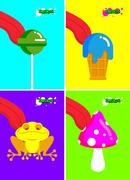Narcotic substances. Acidic lollipop and Frog. Narcotic sweetness and mushroo - stock illustration