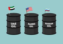Barrels oil. Black barrel of oil and State flag. Russian oil. American USA oi Piirros