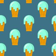 Mint ice cream seamless pattern. Cool dessert in waffle Cup. Texture of desse - stock illustration