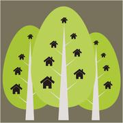 House and tree illustration - stock illustration