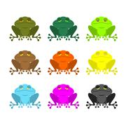 Frog color Set . Colored toads. Woody Orange frog. Yellow and blue fantastic  Piirros