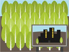Stock Illustration of Project build city in forest illustration