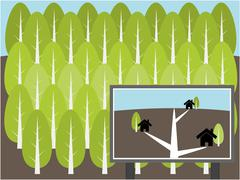 Project build home in forest illustration Stock Illustration