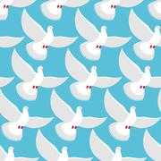White Dove seamless pattern. Pigeons fly into  blue sky background. Ornament  Piirros
