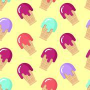 Peppermint ice cream seamless pattern. Strawberry cold dessert. Cherry flavor Stock Illustration
