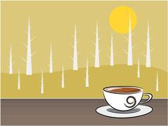 Coffee and background illustration - stock illustration