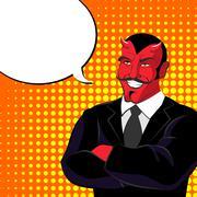 devil pop art. Red horned demonl and text bubble. Satan laughs. lucifer in  b - stock illustration