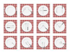 Signs for waiter in the restaurant. Dining etiquette. Cutlery on napkin. Cutl Stock Illustration