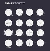 Dining etiquette unofficial version. 16 characters to restaurant etiquette. R Stock Illustration