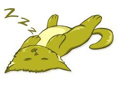 Sleepy kitty - stock illustration