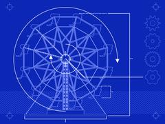 Ferris wheel blueprint - stock illustration