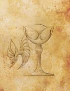 Drawing vintage goblet, draw on old paper. grungle sepia structure - stock illustration