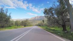 Olive orchard point of view vehicle driving road trees plantation blue sky Stock Footage