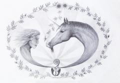 Hand drawing Elf and unicorn with beautiful flower. Draw on vintage paper - stock illustration
