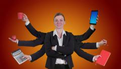 Caucasian female with multiple arms on orange background Stock Footage