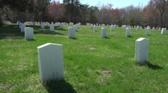 Spotsylvania Confederate Cemetery headstones pan HD Stock Footage