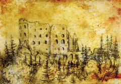 middle castle in forest drawing on old paper and vintage sepia structure - stock illustration