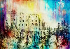 Stock Illustration of middle castle drawing on old paper and color spots