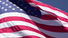 United States USA flag close blue sky background HD 029 Stock Footage