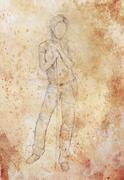 Standing figure woman leaning on a stick, pencil sketch on paper - stock illustration