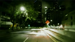 Projection of  a road for vehicle in motion. Vintage Effect rear-projection - stock footage