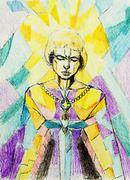 Painting on old paper. Mosaic color background. Joan of Arc symbolic. Warrior Stock Illustration