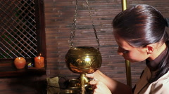 Woman having Ayurvedic spa treatment Stock Footage