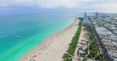 Aerial video of South Beach, Ocean drive. Stock Footage