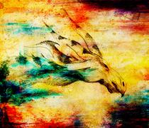 pencil drawing dragon on old paper background and color spots - stock illustration
