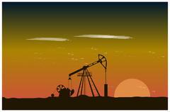 Oil well piston pumps at sunset Stock Illustration