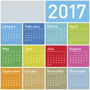 Colorful Calendar for Year 2017, in vector format. Stock Illustration