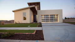 Rising from Street to Show Modern Southwestern Home Stock Footage