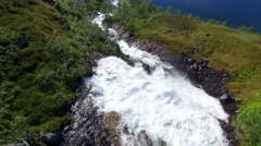 Waterfall in Norway, aerial view Stock Footage