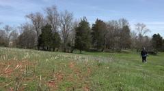 Virginia Ellwood Manor plantation Stonewall Jackson woman walk HD 005 Stock Footage