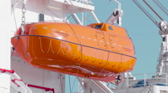Lifeboat on an Ocean Support Vessel Stock Footage
