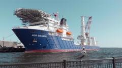 Ocean Support Vessel with Pelican Stock Footage