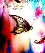 illustration of a butterfly, mixed medium, abstract color background - stock illustration