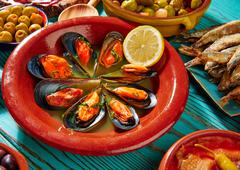 Tapas mejillones al vapor steamed mussels - stock photo