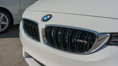 BMW M4 car on display on Feb 16, 2015 in Santa Clara, CA Stock Footage