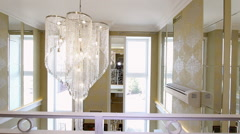A large crystal chandelier on the ceiling. Stock Footage