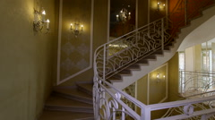 Panorama hall with a staircase in fashion house. Stock Footage