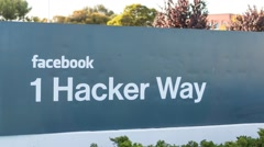 Facebook Inc's entrance sign at the corporate office in California Stock Footage