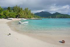 White sand beach Huahine island French polynesia - stock photo