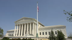 United States Supreme Court building flag Washington DC HD Stock Footage
